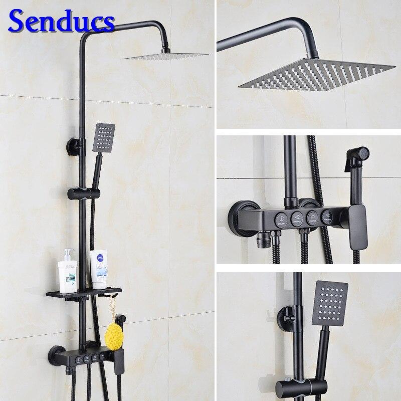 Senducs Bronze Black Shower Set Fashion Four Button Black Bathroom Shower System Stainless Steel Top Shower