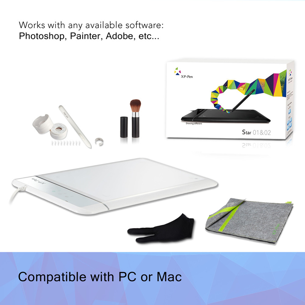 ФОТО XP-Pen Star02 Graphics Drawing Pen Tablet drawing Tablet Battery-free Stylus Passive Pen Signature Painting writing Board