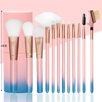 12 Pcs Makeup Brush Set Soft Gradient Handle Professional Makeup Artist Brush Tool Kit With Cylinder