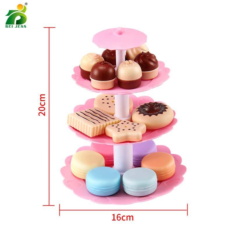 Bei Jess 23pcs Girl Pink Cake Tower Mini Cookie Food Set Plastic Kitchen Toys Kids Pretend Play Birthday Gift #6