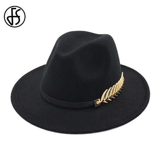 67b883c0878 FS Wool Felt Hats Black For Women With Wide Brim Belt Church Men Jazz  Godfather Fedora Hat Trilby Gangsters Winter Chapeau Femme