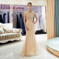 iLoveWedding Luxury Halter Crystal Beaded Cap Sleeves vestido longo Champagne Tulle Fishtail Sweep Train Elegant Evening Dresses