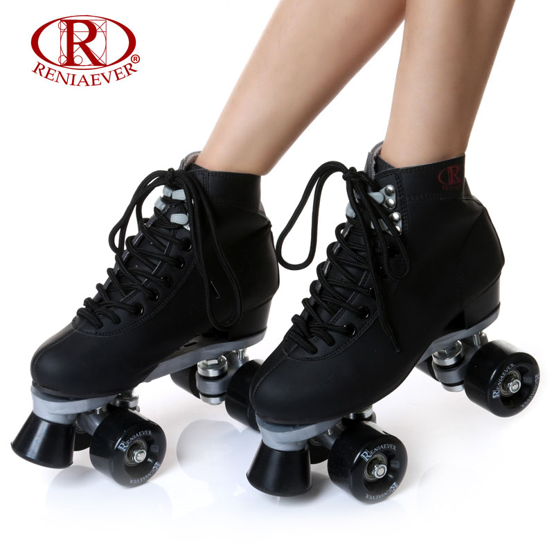 RENIAEVER Roller Skates Double Line Skates Black Women Female Lady Adult With Black PU 4 Wheels Two line Skating Shoes Patines reniaever double roller skates skating shoe gift girls black wheels roller shoe figure skates white free shipping