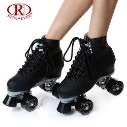 Reniaever roller skates double line skates black women female lady adult with black pu 4 wheels.jpg 250x250