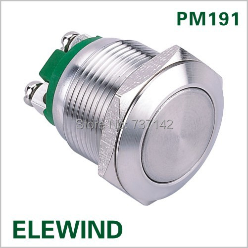 ELEWIND 19mm momentary stainless steel push button switch PM191F 10 S