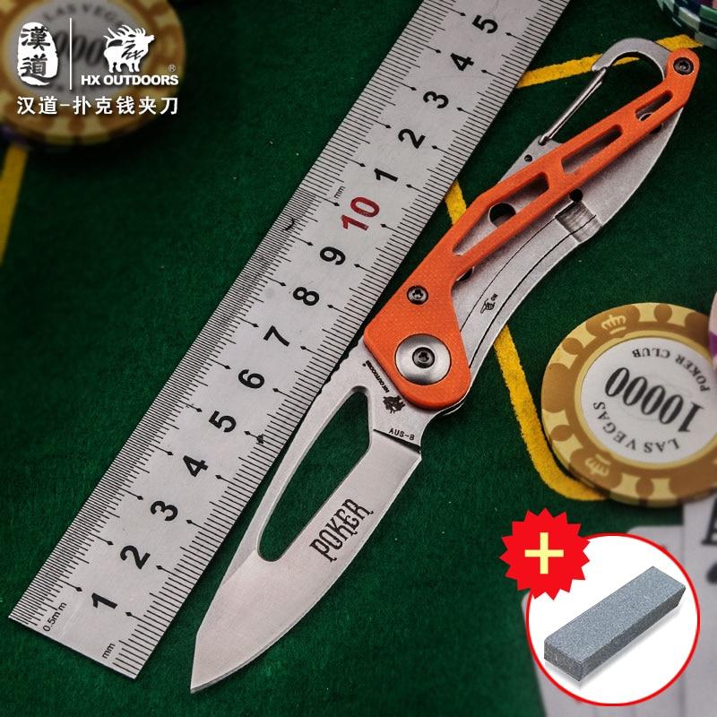 HX OUTDOORS EDC přenosný multifunkční skládací nůž, nůž na přežití nůž na peníze navíc