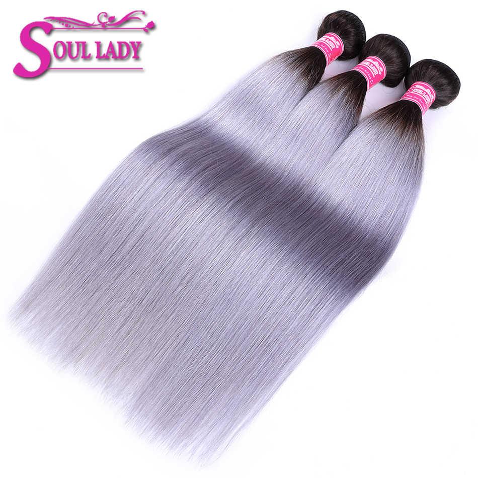 Soul Dame 1B/Grijs 2 Tone Kleur Straight 3 Bundels Braziliaanse Haar Weefsel Bundels Donkere Wortel Sliver Grijs Ombre haar Bundels Remy Haar