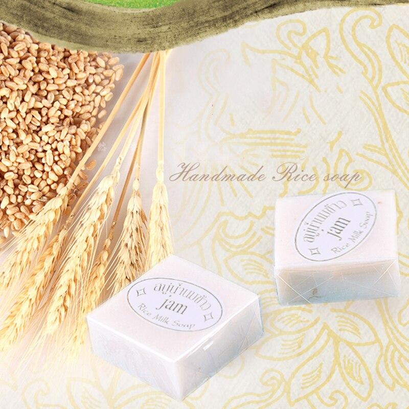 Handmade Rice Milk Soap Thailand Collagen Vitamin Skin Whitening Bathing Moisturizing Bleaching Agents Acne Soap Dropship TSLM1
