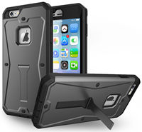 Heavy Drop Gray Rugged Armor Tank Stand Case Built In Screen Guard Cover For Iphone 5