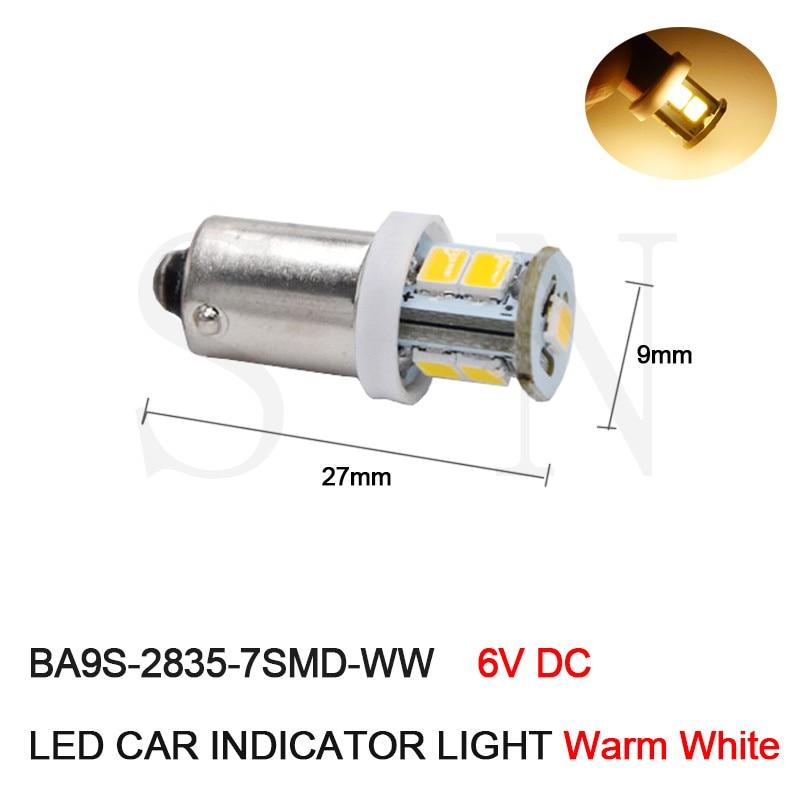 цена на 100 x High Quality 6V DC BA9S Led Signal Light,T4W Led Bulb Lamp Light,T11 Led Indicator lamp,Led Warning light Warm White 4300K