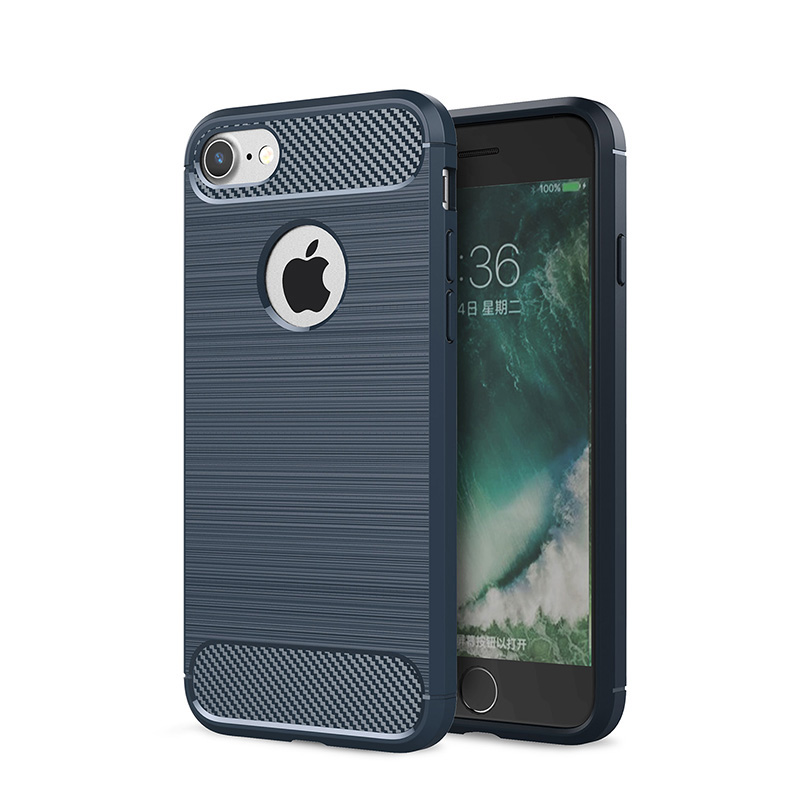 Carbon fiber silicone case for Iphone 5 6 s 7 8 plus hoesje funda soft  armor brushed tpu cover for iphone x coque etui kryt tok-in Fitted Cases  from ... 4a4d1f9af9b8a