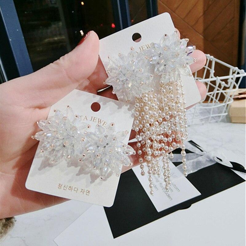 Korea Handmade Crystal Flower Pearl Tassel Spring Women Drop Earrings Dangle Fashion Jewelry Accessories-QQD5