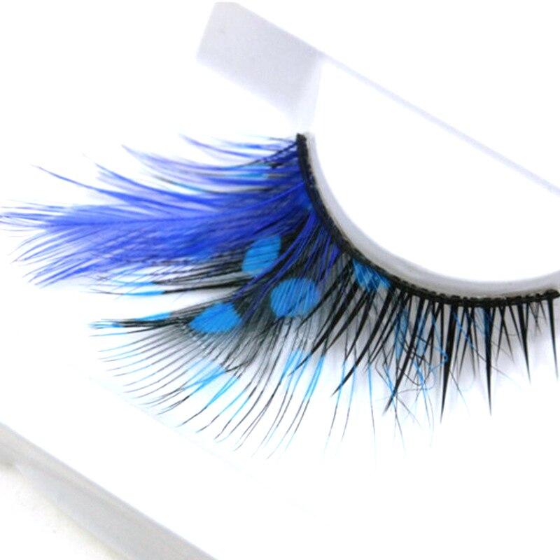 YOKPN Exaggerated Color False Eyelashes Stage Performance Art Studio Makeup Eye Lashes Blue Dot Thick Feather Fake Eyelashes