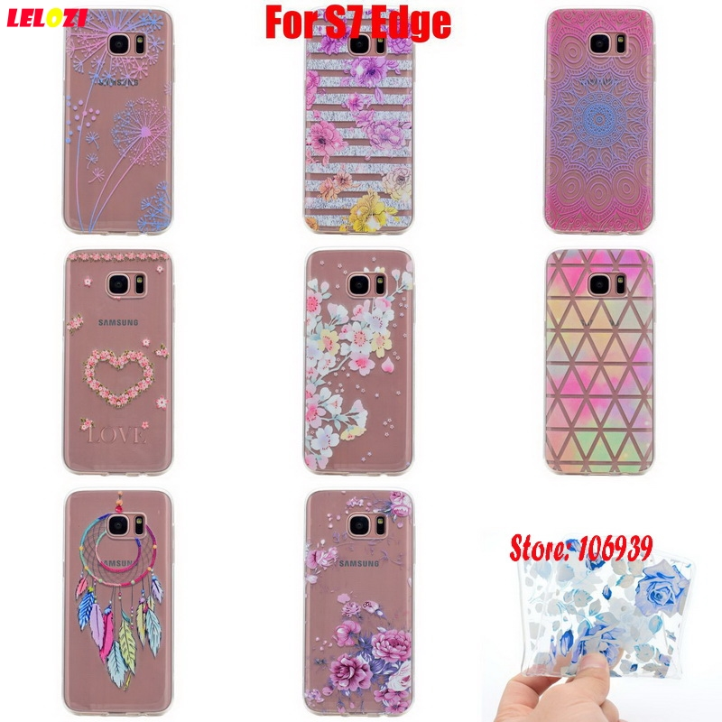 LELOZI Beautiful New Soft Transparent TPU Clear Silicone Fundas Coque Case Cover For Samsung Galaxy S7 Edge SM-G935F Pink