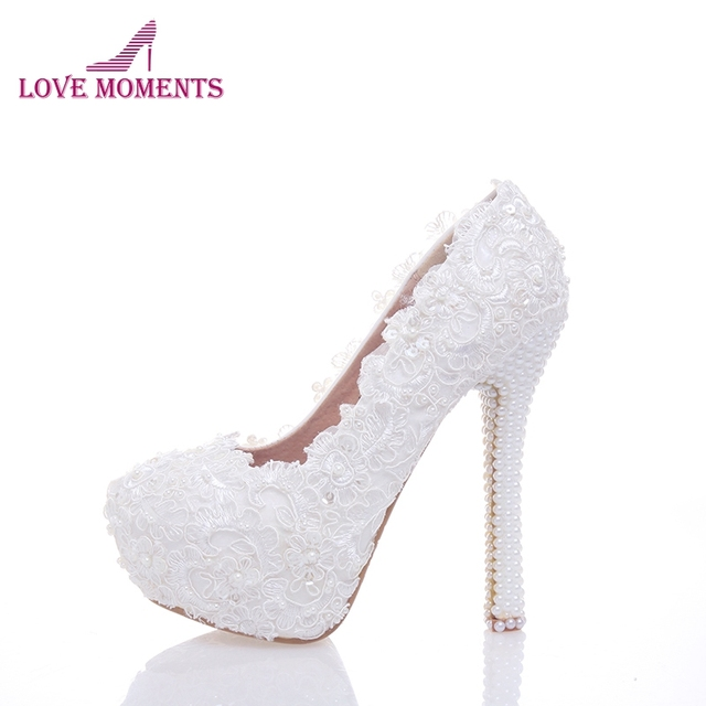 65258b06e 2018 New Elegant Lace Flower Pearls Decoration Six kinds Of High Heels  Bridal Wedding Shoes Party Prom Round Toe Women Stiletto
