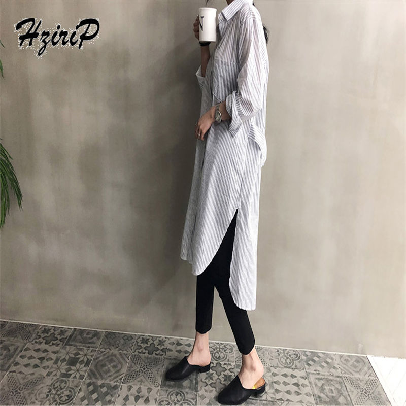 Alien Kitty 2018 New Autumn Striped Full-Sleeved Skirt Version Embroidery Loose Collar Wind Wild Tooling Women Solid Coat
