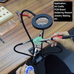 Image 5 - Toolour Welding Third Hand Tool Table Clamp Soldering Stand USB LED 3X Magnifier 5pc Flexible Arms Bench Vise Soldering Holder