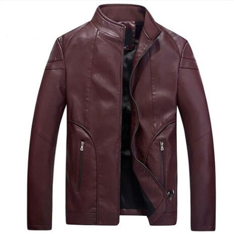 Xxl En red Collier brown Brodé Hommes Pu Veste Moto Homme Vestes 2018 Zippée Marque Cuir Black Noir 0NvnOm8w