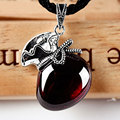 Thai silver garnet purse pendant lucky bag chalcedony necklace silver Women big pendant necklace