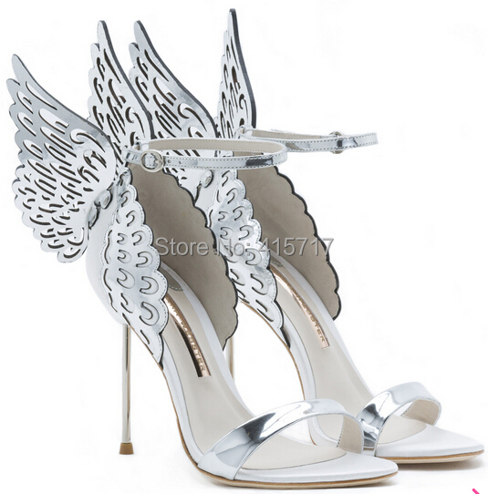 20aafccb0509c8 2015 Unique Design Angel Wing Sandals Women Wedding Pumps Gold Silver  Strappy Sandals Sweet High Heels Shoes Drop Shipping-in Women s Sandals  from Shoes on ...