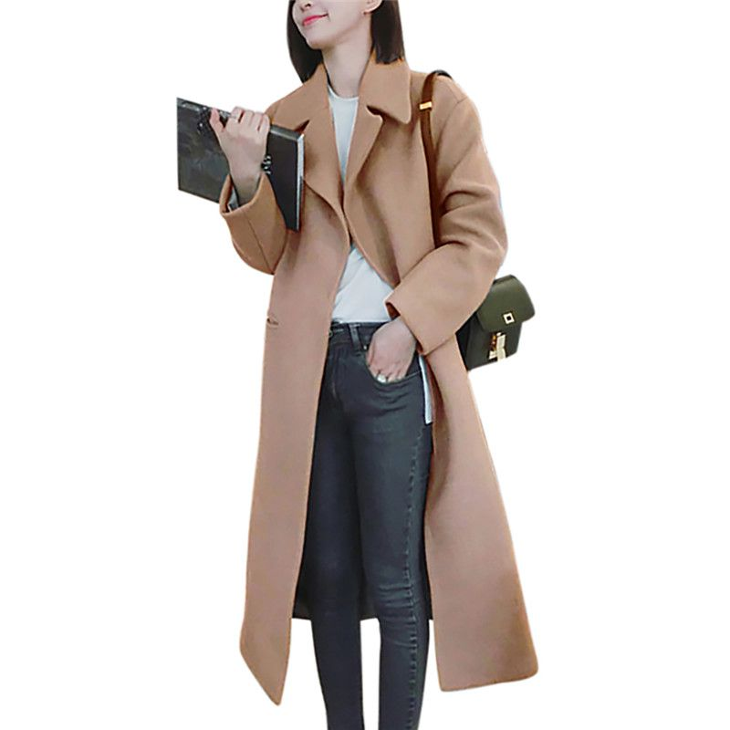 Women Long Coat Autumn Winter Warm Thick Long   Trench   Temperament Slim Coat Solid Long Sleeve Lapel Woolen Outwear