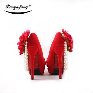 Image 4 - Lot de chaussures de mariage pour femmes, couleur rouge, chaussures de mariée à talons hauts à plateforme, semelle rouge 8cm/11cm/14cm, nouveauté