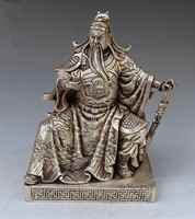 TNUKK Collectible Decorated Handwork Tibet Silver Guan gong guan yu statue family decoration gift metal handicraft Statue