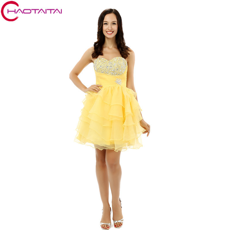 3 Colors Sweetheart Girls Party   Cocktail     Dresses   Organza Ruffles Sequins Beaded Short Homecoming