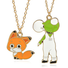 FAI DA TE Pendente Animale Kawaii Dello Smalto Fox Collana Trendy Little Boy Collane & Pendenti con gemme e perle Per Le Donne I Bambini Dropshipping Bijoux Femme(China)
