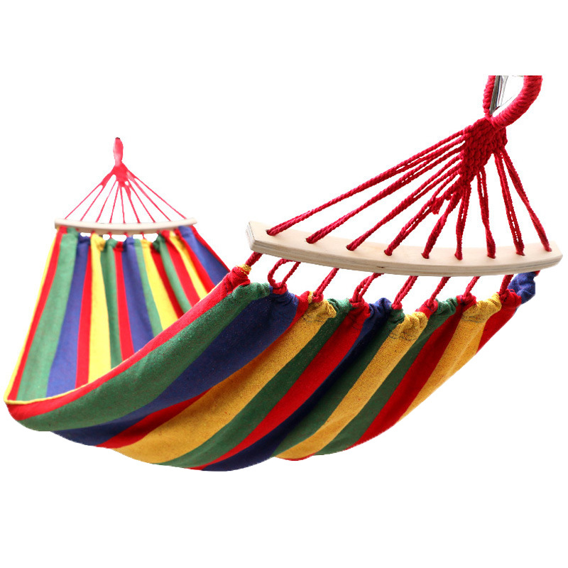 Single Swing Portable Outdoor Camping Travel Chair Rainbow Striped Wooden Stick Hammock #8