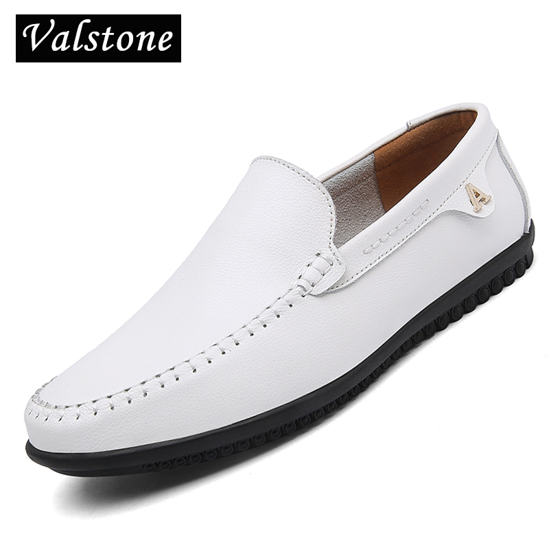 Valstone White Leather casual sko mænd Summer Slip på loafers - Mænds sko