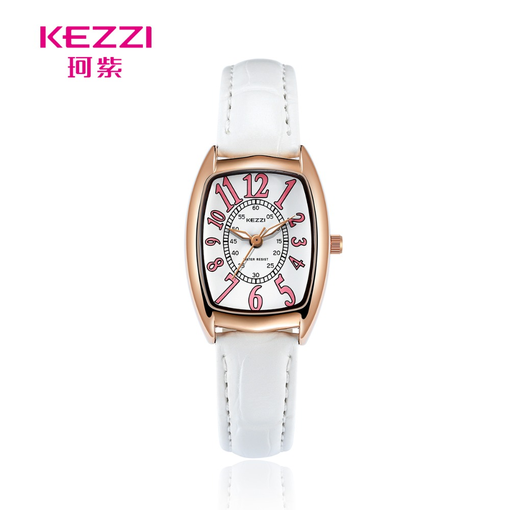 купить KEZZI Women Square Watch Leather Strap Watch Women Casual Watch Fashion Casual Quartz Watch Number Dial Female Reloj Mujer Girl по цене 531.12 рублей