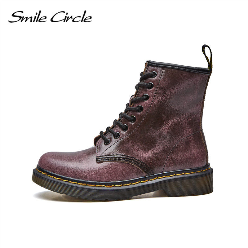 2017 Autumn Winter Shoes women ankle boots Round toe Lace-up Genuine Leather boots women Martin boots  platform boots botas front lace up casual ankle boots autumn vintage brown new booties flat genuine leather suede shoes round toe fall female fashion