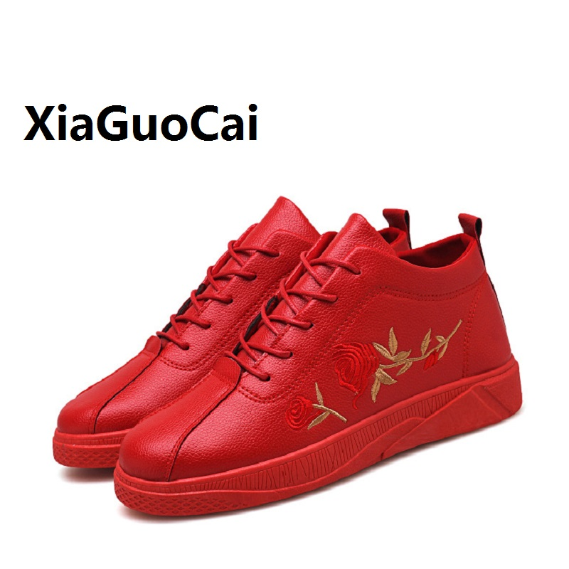 New Spring Autumn Man Casual Shoes Leather Breathable Rose Embroidery Korean Lace Up Durable Fashion Walking Flat Shoes for Man 2016 new autumn winter man casual shoes sport male leisure chaussure laced up basket shoes for adults black