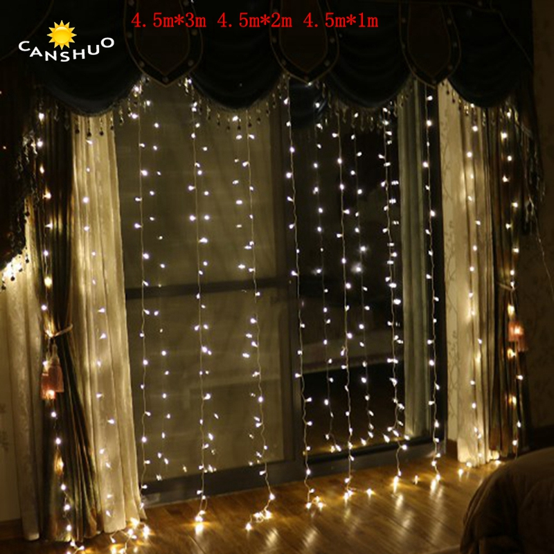 все цены на 4.5M x 3M/2m/1m led Icicle String Lights Christmas xmas Fairy Lights Outdoor Home For Wedding/Party/Curtain/Garden Decoration онлайн
