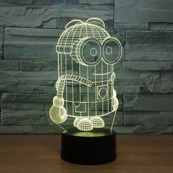 Minions-Lámpara Led 3D de noche para hombre, lámpara de mesa por USB...