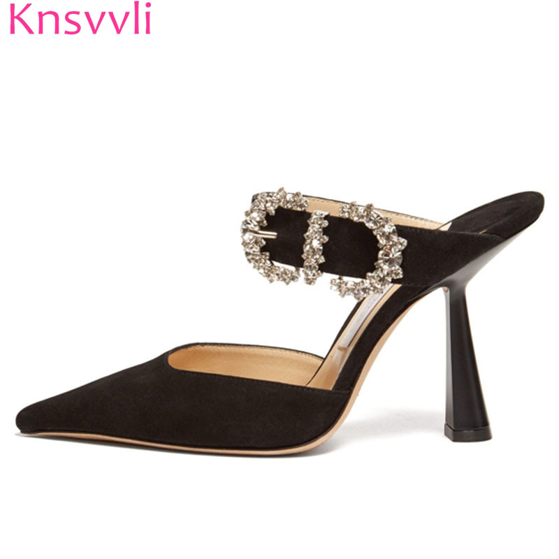 Hot Slipper Women Black Suede Thin High Heels Party Shoes Pointed Toe Slip On Luxurious Buckle Rhinestone Sexy Mules Shoes Women