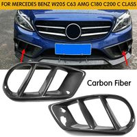 Carbon Fiber Front Bumper For C43 AMG Air Vent Outlet Cover Trim Mesh Grill for Mercedes C Class W205 C200 C300 2015 2019