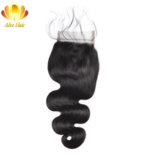 """Ali Afee Lace Closure Brazilian Body Wave Non-Remy Human Hair 4*4 Swiss Lace With 130% Density Middle Part Closure 8""""-20"""""""