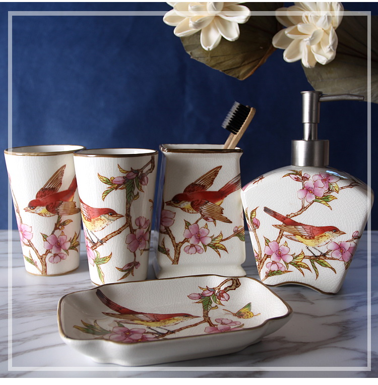 Bathroom Ceramic ice crack Wash ware Five pieces set magpies washing - Household Merchandises
