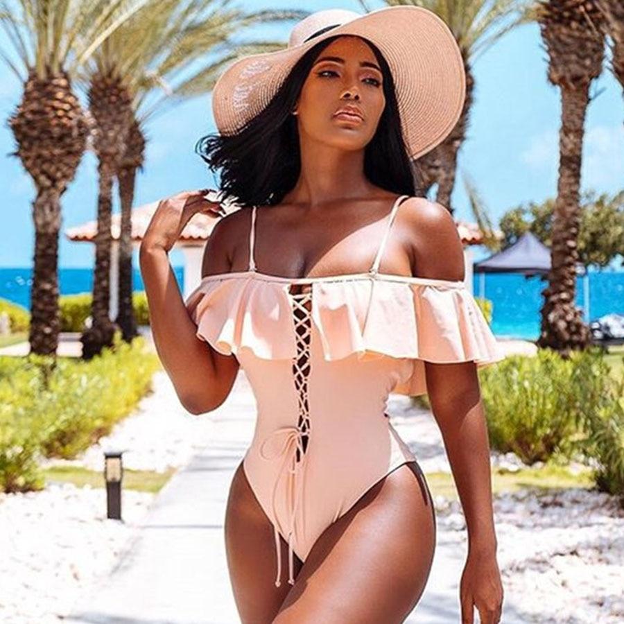 One Piece Swimwear Women Swimsuit Bandage Bodysuit Monokini Beachwear Bathing Suit Swim Wear Beach Summer Maillot De Bain Femme 1