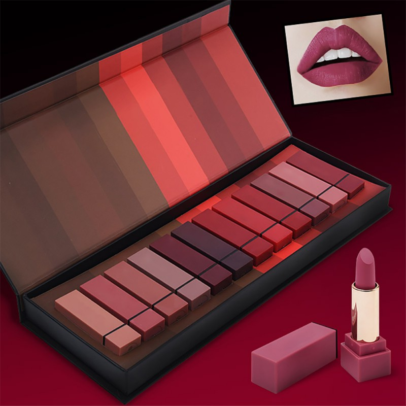 Maquiage marke 12 teile/los lip kit matte Lippenstift Wasserdichte Nahrhaft Samt lip stick Rot Farbton Nude batom make-up set