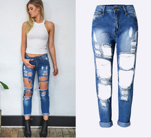 2017 Newest Women Stretch Ripped Knees Distressed Straight Denim Jeans Pants Fashion High Waist Hole Loose