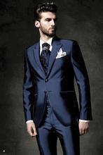 Custom Made Groom Tuxedo Navy Blue Groomsmen Blazer Wedding Prom Dinner Suits For Men Best Man