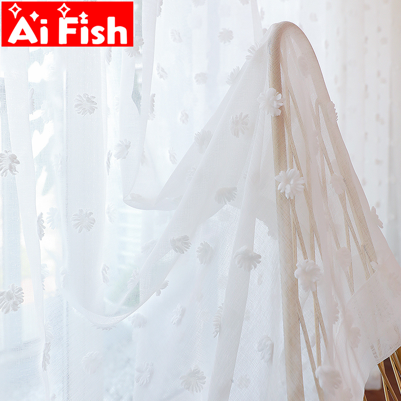 Modern Simple Stereoscopic White Embroidered Spot Creative Design Curtains Screen Tulle For Living Room Balcony Drapes DF082#40