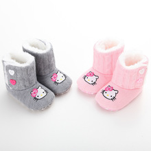 2016 Newborn Baby Girls Cartoon Hello Kitty Winter Snow Keep Warm Soft Soled Anti-skid Boots Shoes Infant Toddler Crib Booties