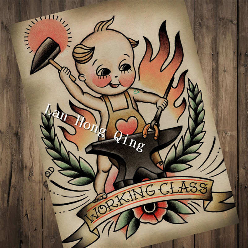High quality vintage Tattoos design about Working Class Patterned Posters Kraft paper Wall Sticker Barber shop Home Decor HM-044