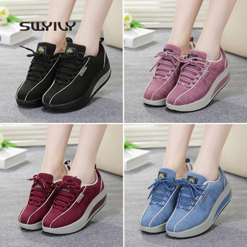 SWYIVY Toning Shoes Sneakers Light-Weight Women Slimming Platform Height-Increasing Female