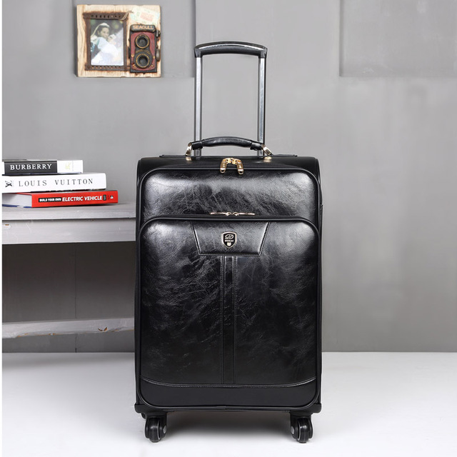 20''24'' Spinner Pu Leather Luggage Travel Suitcase,Retro Travel Bag,Rolling Luggage