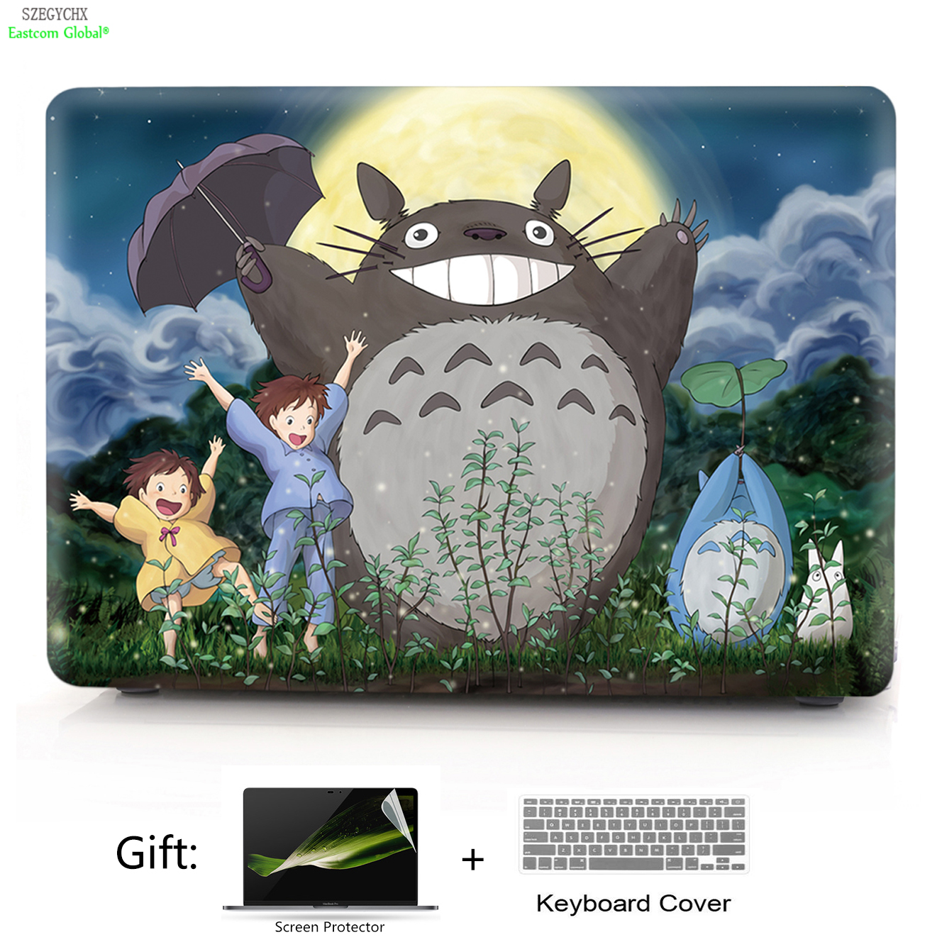 SZEGYCHX Totoro Shell Hard Laptop Case For Macbook Air Pro Retina 11 12 13 15 13.3 inch with Touch Bar Protective cover A1706 hat prince protective hard case for macbook pro 15 4 inch with retina display